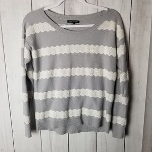 AE Gray and White Striped Lace Design Sweater